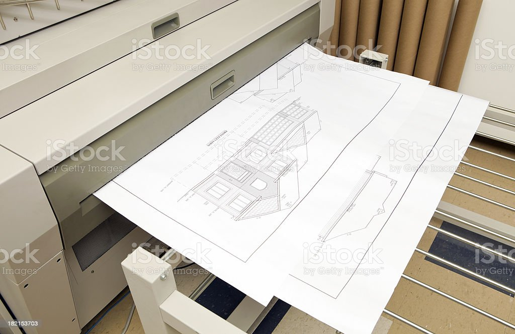 Digital Engineering Printer with House Plan Output stock photo