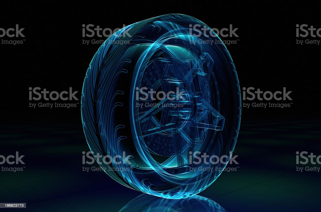 A digital example of a brake system in blue stock photo