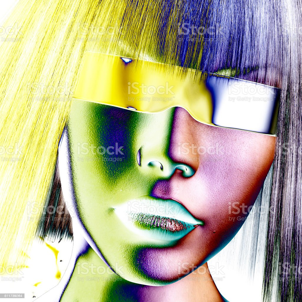 Digital female Face stock photo