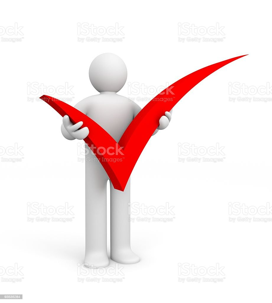 Digital figure holding a large red check mark royalty-free stock photo