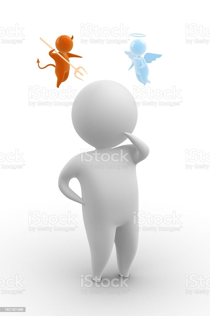 A digital figure with a good and evil figure on each side stock photo