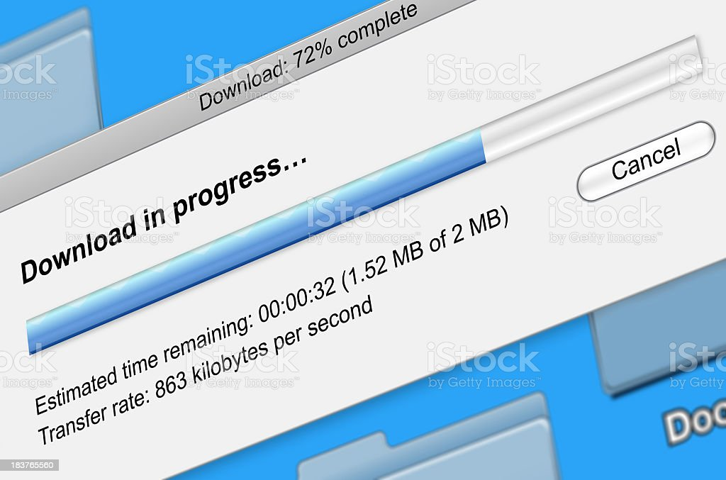 Digital file download progress bar royalty-free stock photo