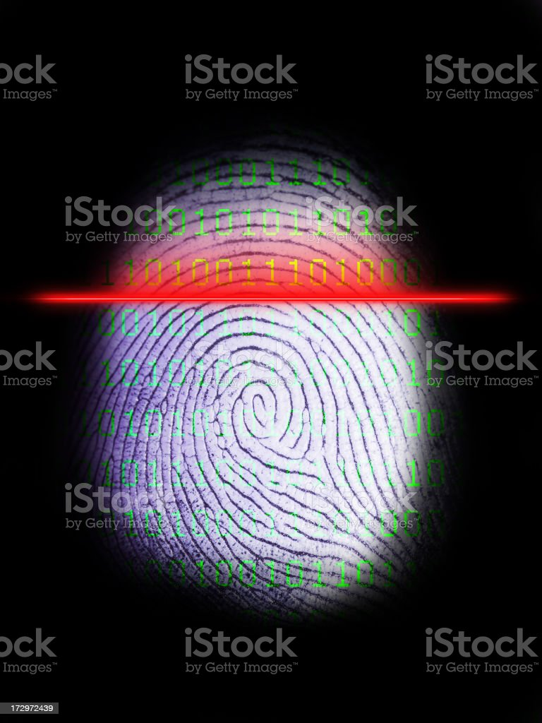 Digital Fingeprint Scanner on Black 3 stock photo