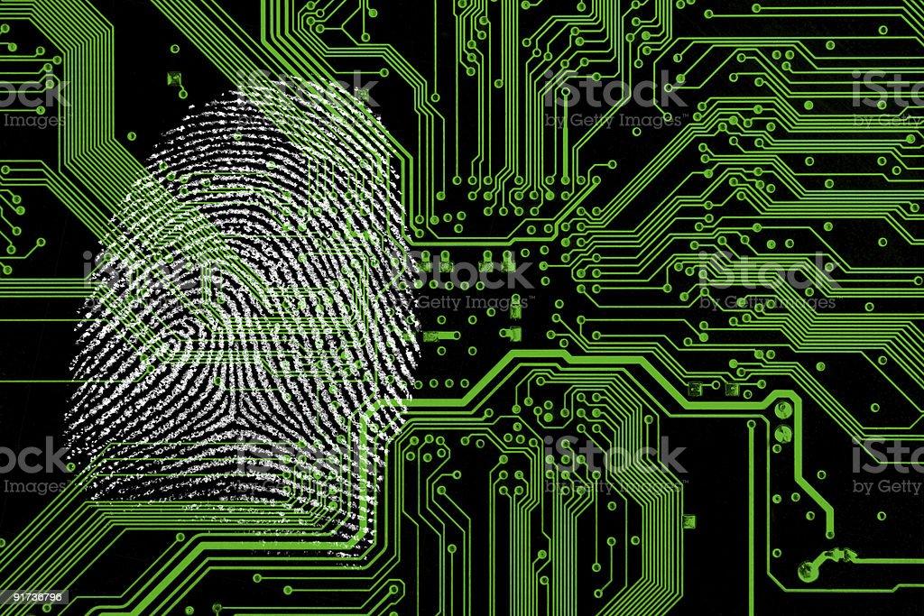 Digital fingerprint on green technology background royalty-free stock photo