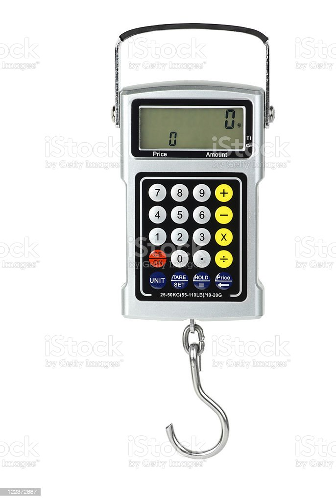Digital fishhook scales with built-in calculator royalty-free stock photo
