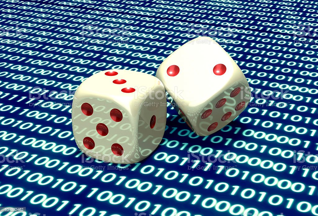 digital gaming concept dice in computer environment stock photo