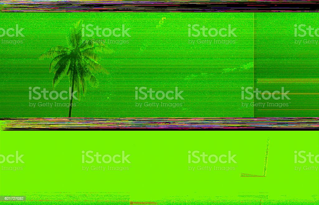 Digital glitch background and coconut tree stock photo