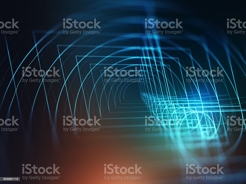 Digital golden ratio on abstract technology background stock photo