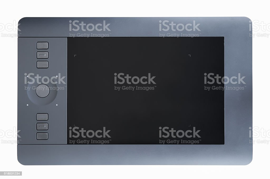 Digital, graphic tablet  isolated on white stock photo