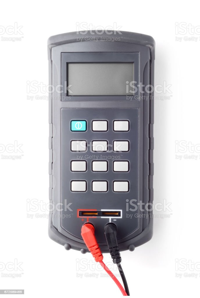 Digital handheld LCR meter isolated on white stock photo