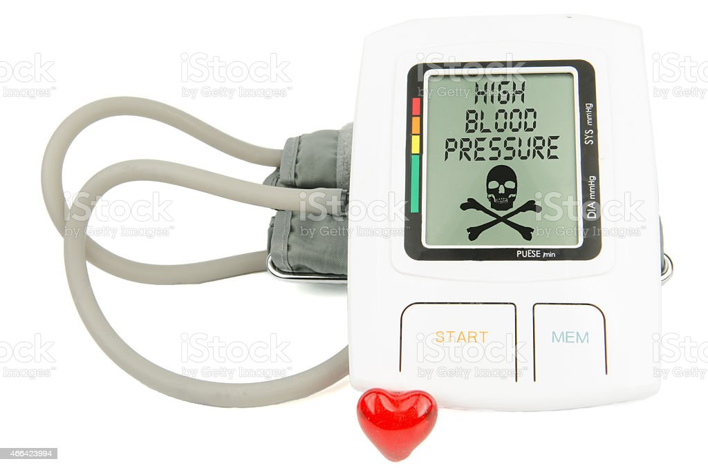 Digital Hypertension blood pressure monitor stock photo