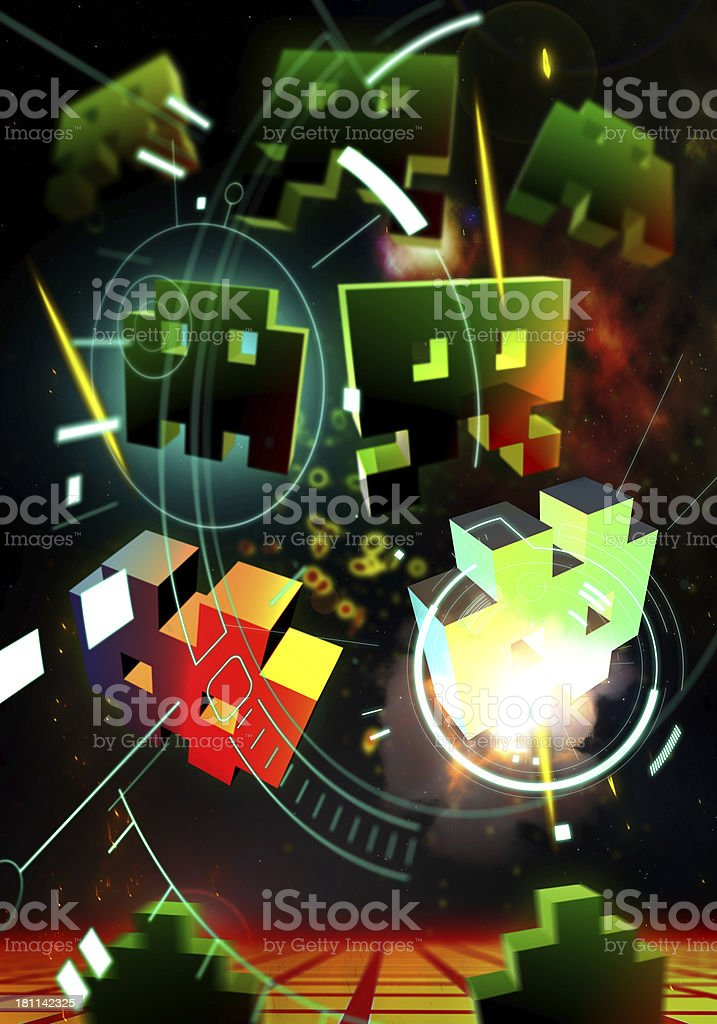 Digital icons on a colorful design stock photo