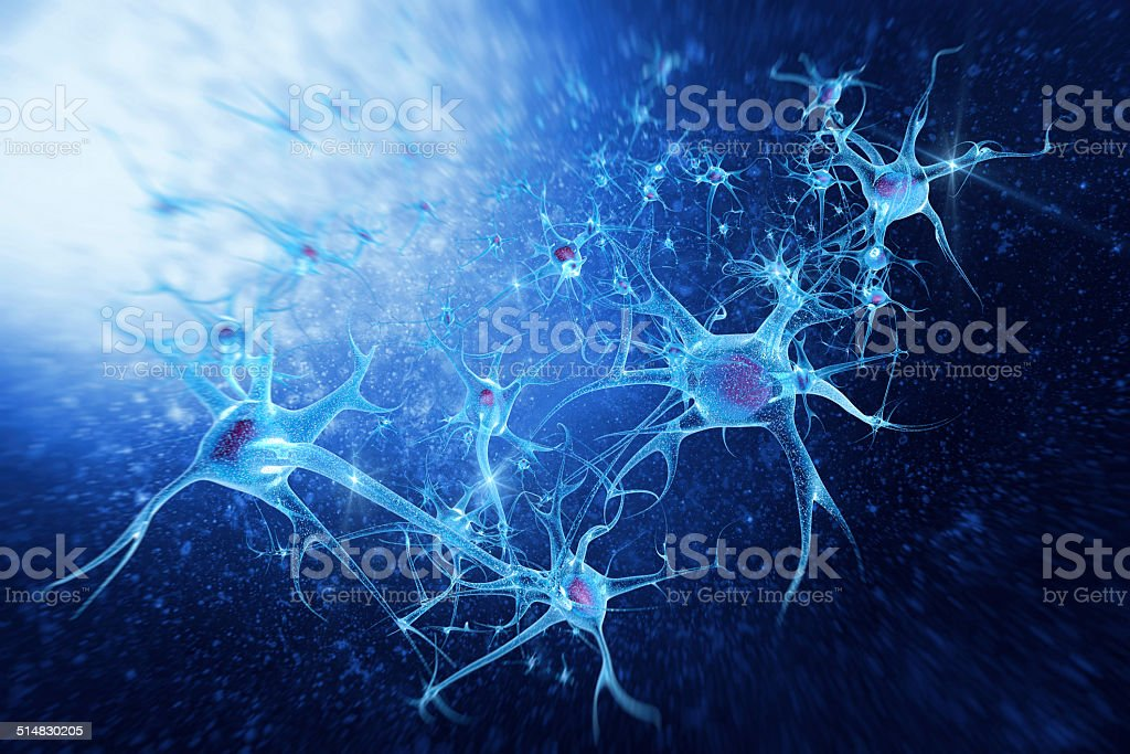 digital illustration neurons stock photo