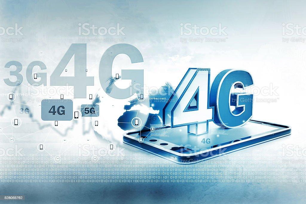Digital illustration of 4g tablet pc stock photo