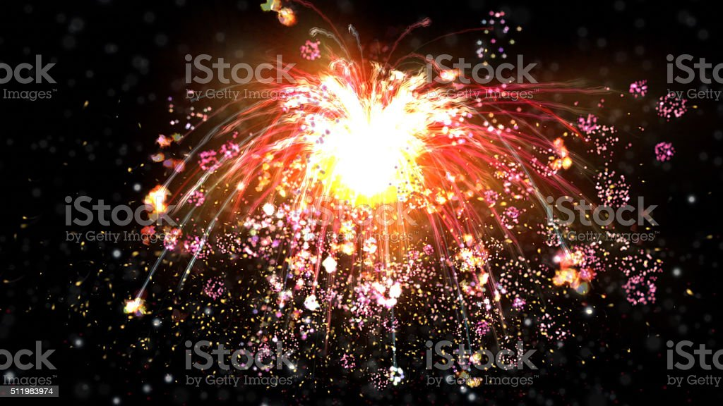 Digital Illustration of a Fireworks stock photo