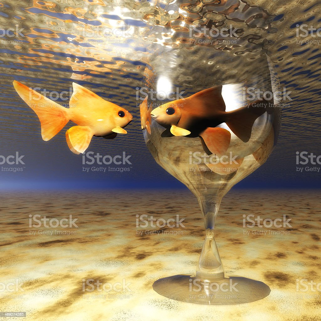 Digital Illustration of a Goldfish Glass stock photo