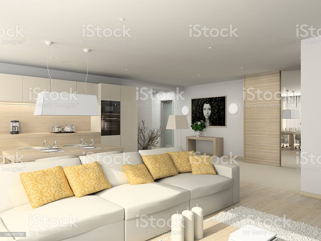 A digital illustration of a modern furnished living room royalty-free stock photo