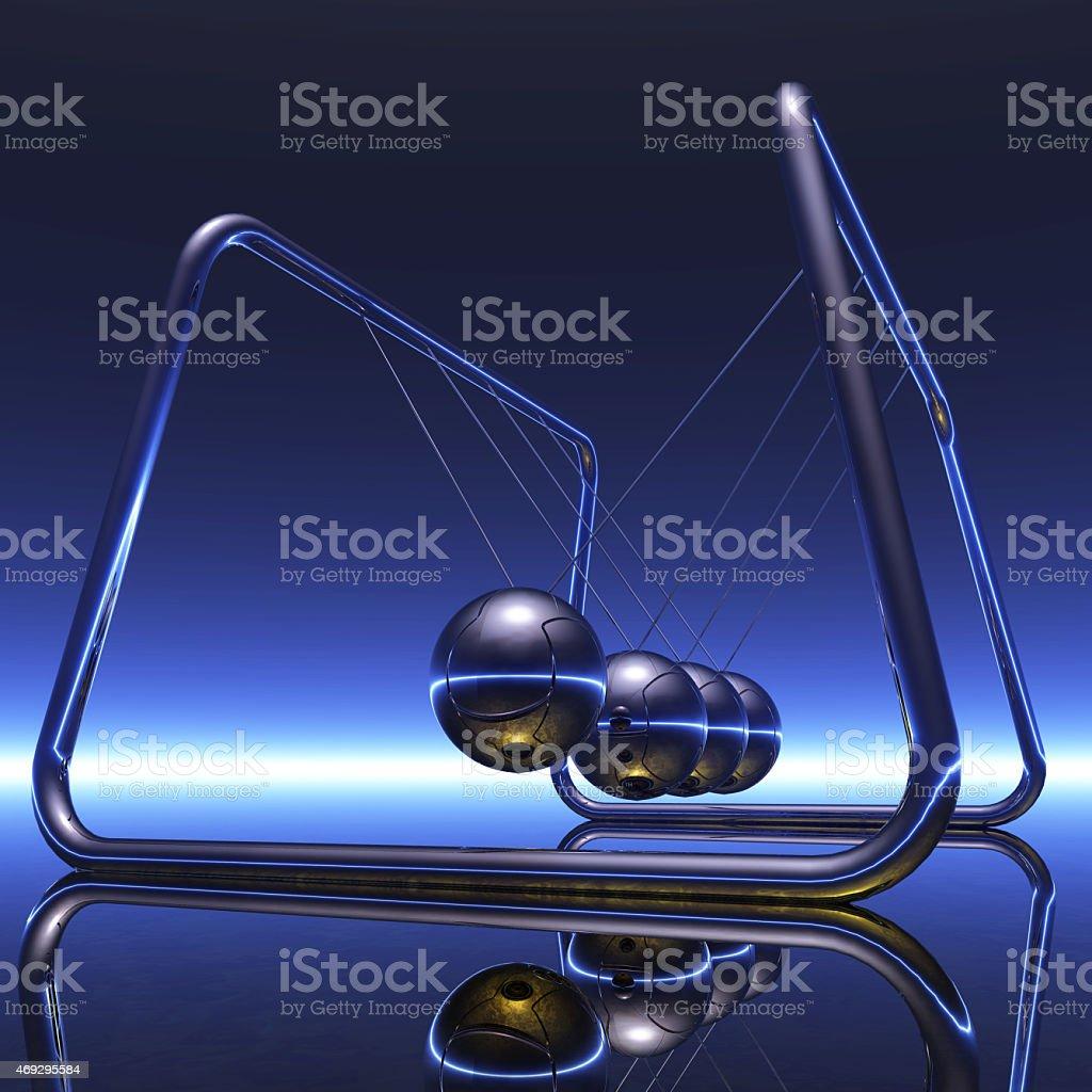 Digital Illustration of a Newton Pendulum stock photo
