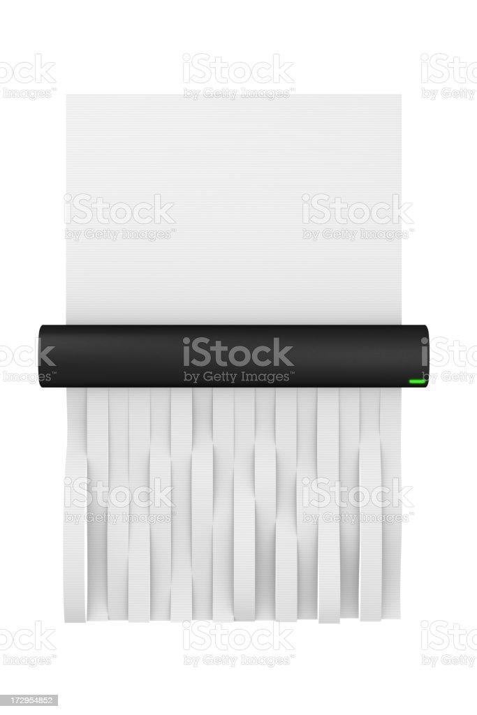 Digital illustration of a paper shredder shredding paper stock photo