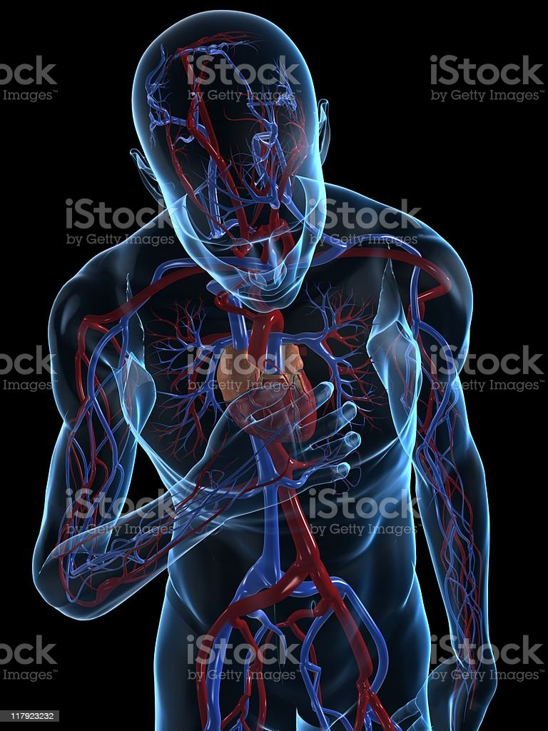 Digital illustration of a person having a heart attack royalty-free stock photo