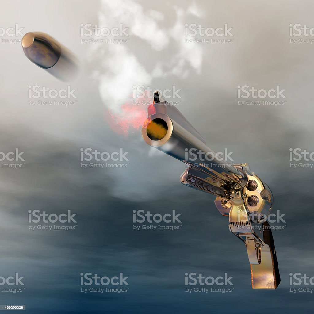Digital Illustration of a Revolver stock photo