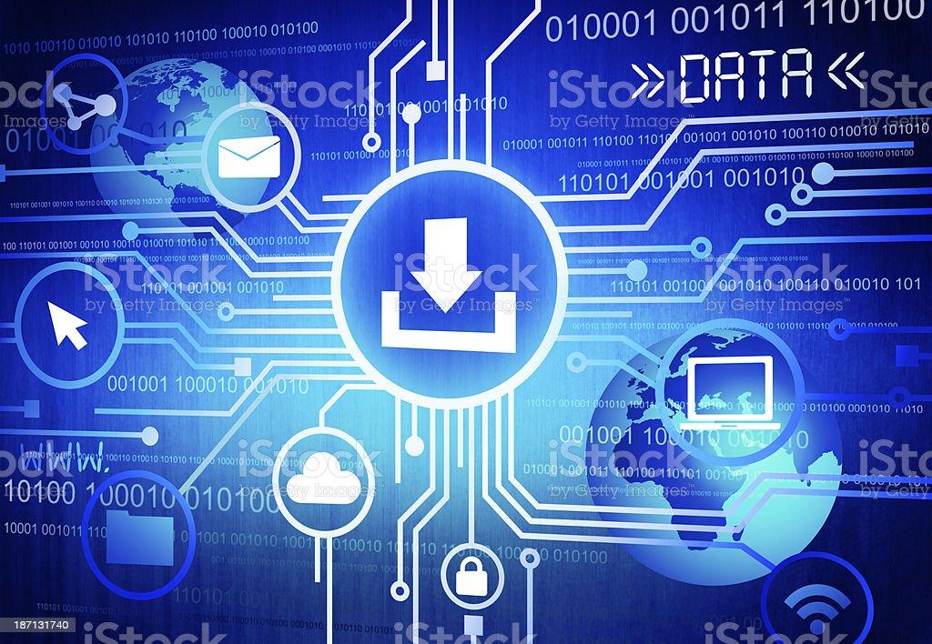 Digital Illustration of computer downloading  royalty-free stock photo