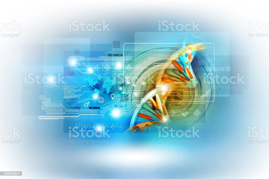 Digital illustration of dna vector art illustration