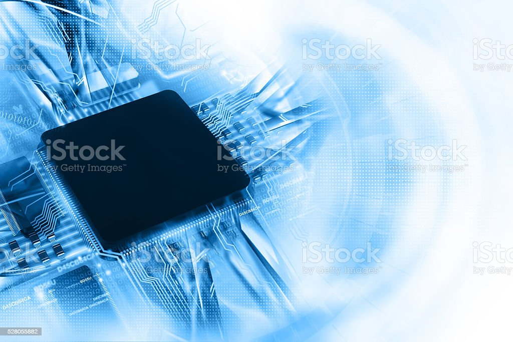 Digital illustration of electronic circuit board stock photo