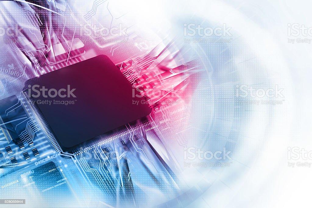 Digital illustration of electronic circuit board stock photo