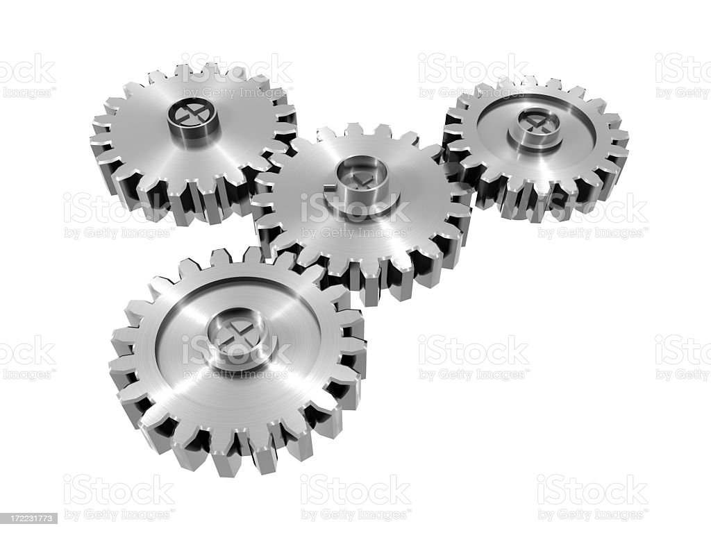 Digital illustration of metal cog wheels on white background royalty-free stock photo