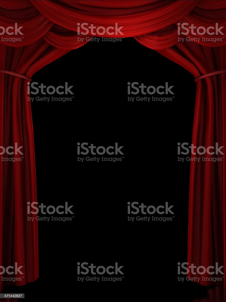 Digital illustration of red ornate stage curtain royalty-free stock photo