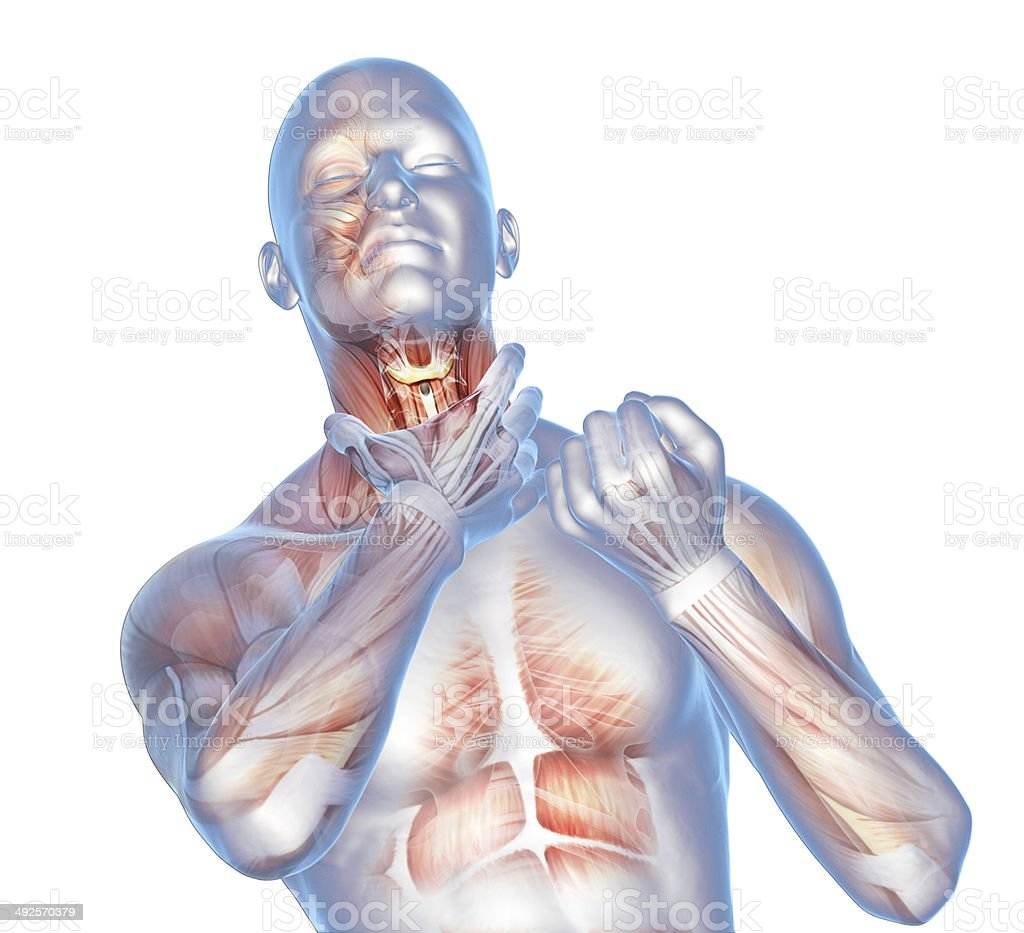 digital illustration pain in the throat stock photo