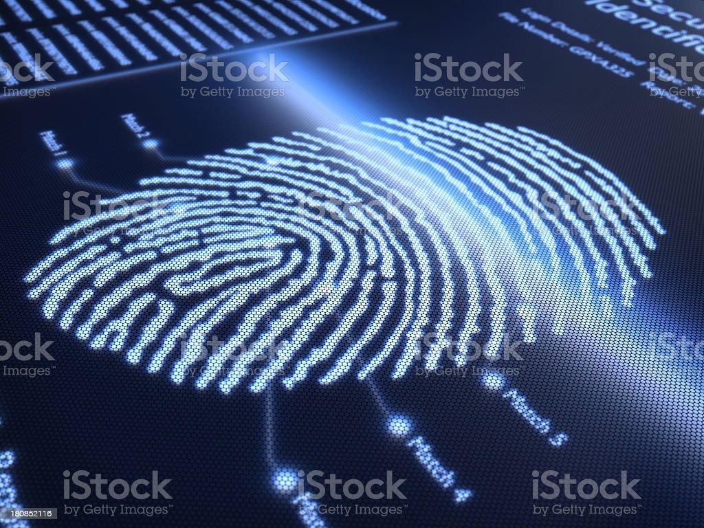 Digital image of a fingerprint on pixelated screen stock photo