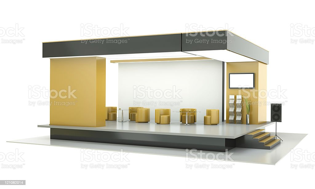 Digital image of an exhibition booth on a white background stock photo