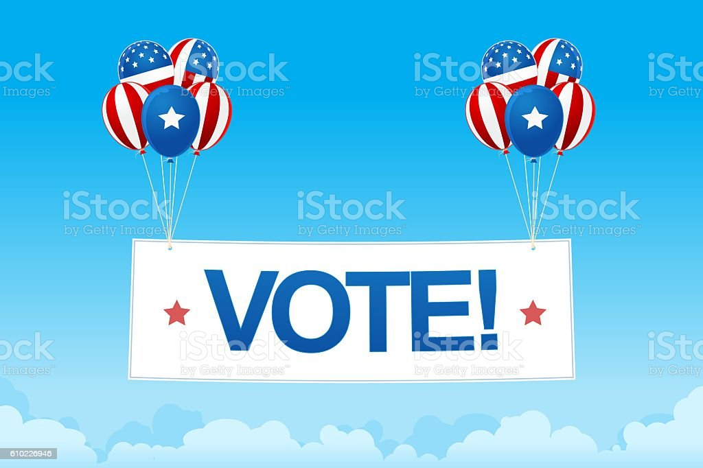 digital image of balloons with vote banner stock photo