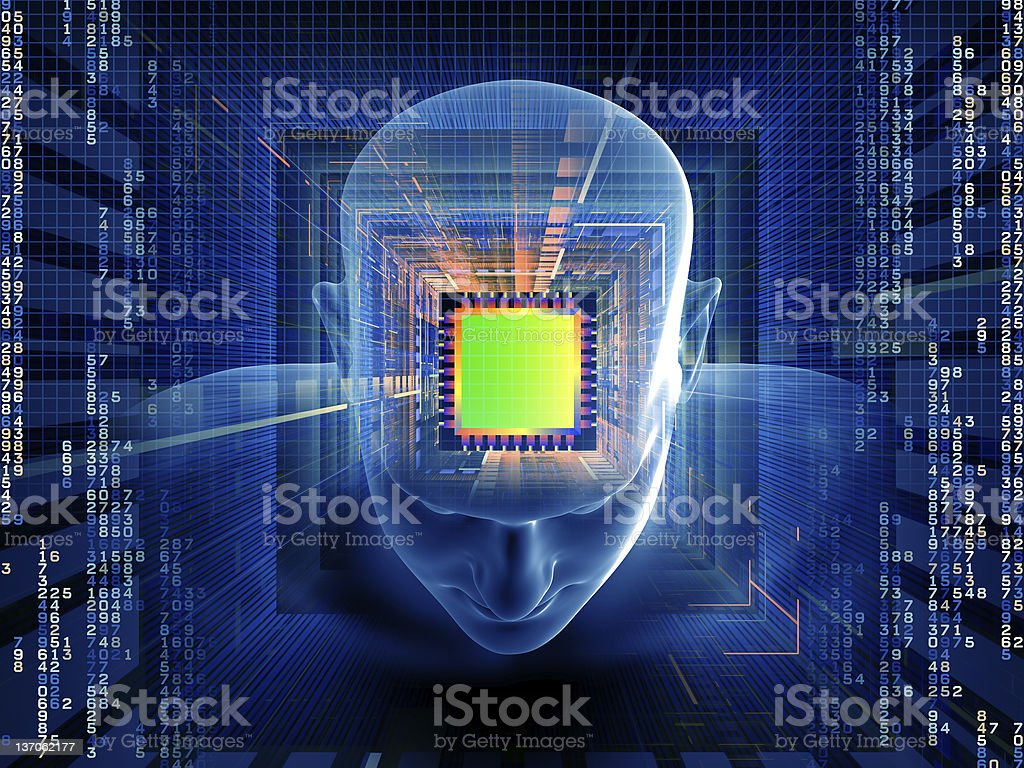 3D digital image of computer chip in human mind royalty-free stock photo