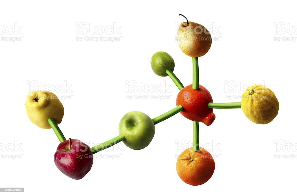 Digital image of molecular structure with fruit on the ends stock photo