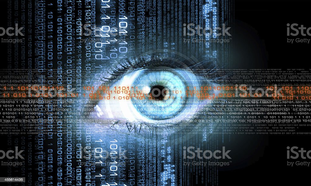 Digital image of woman's eye. Security concept stock photo