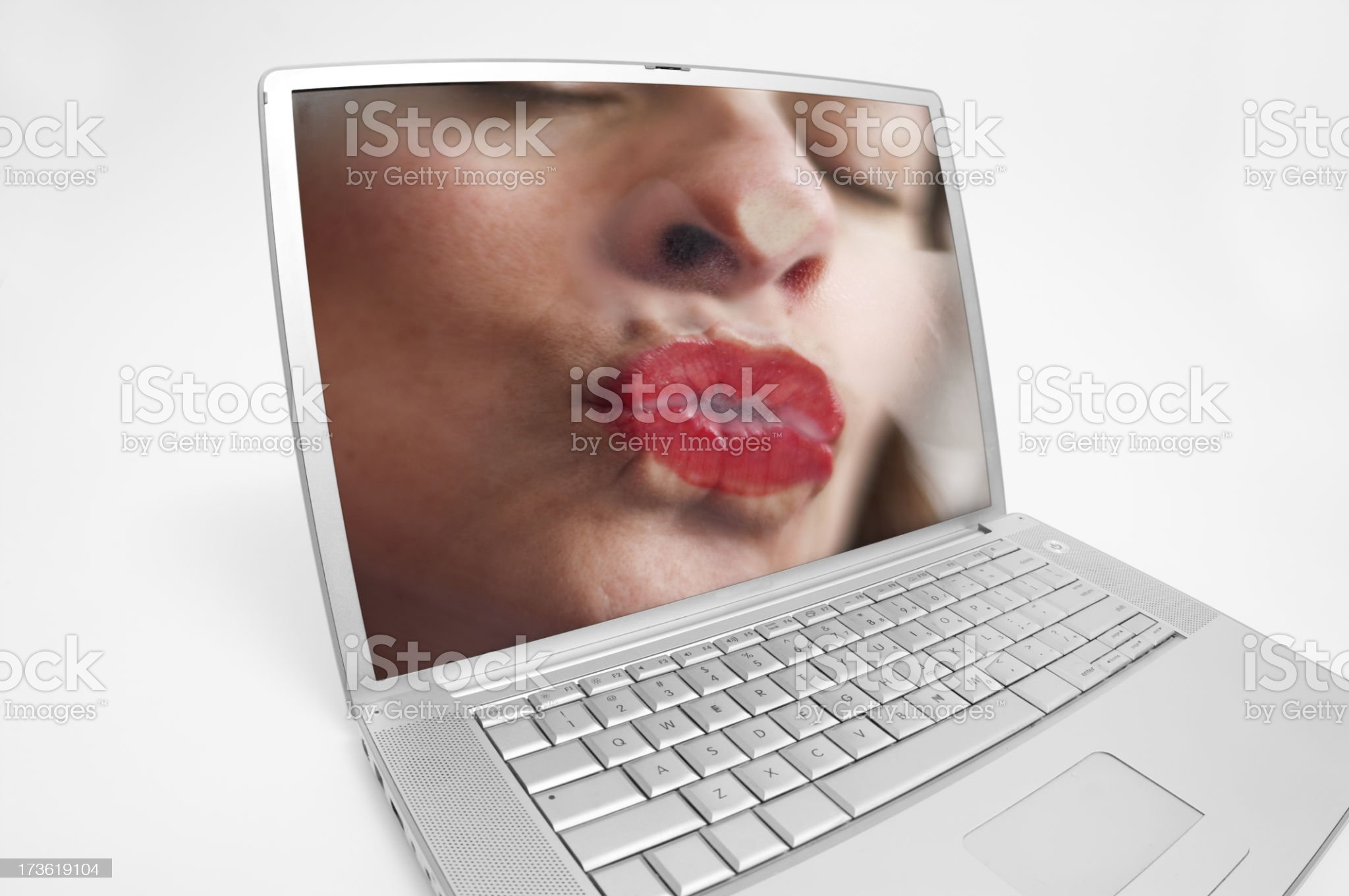 Digital kiss — online romance? royalty-free stock photo