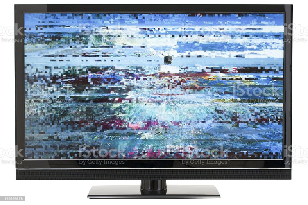 Digital LCD TV Distortion stock photo