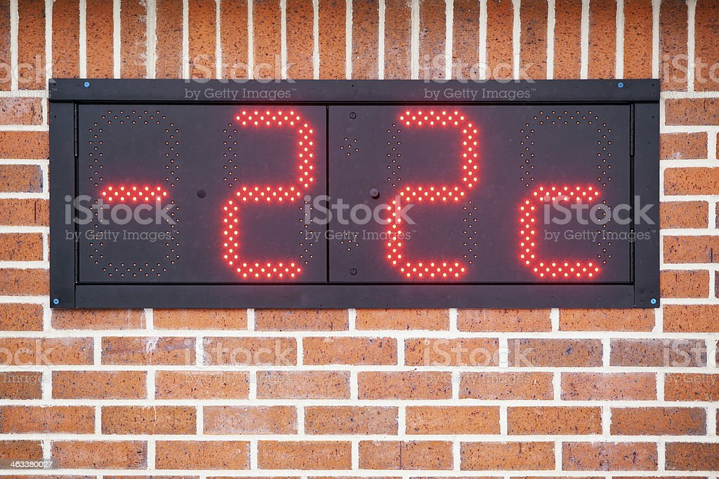 Digital LED Bank Thermometer Displaying Negative Temperature stock photo