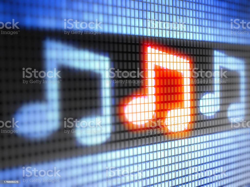 Digital LED lights forming musical notes royalty-free stock photo