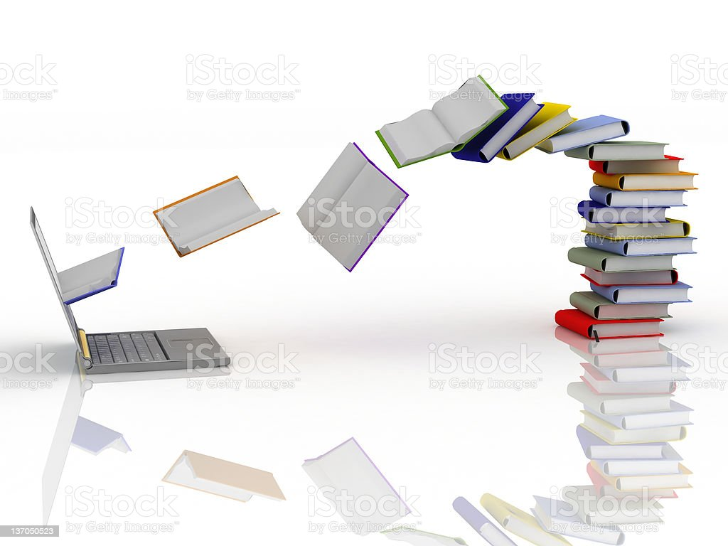 Digital Library. Side view. stock photo