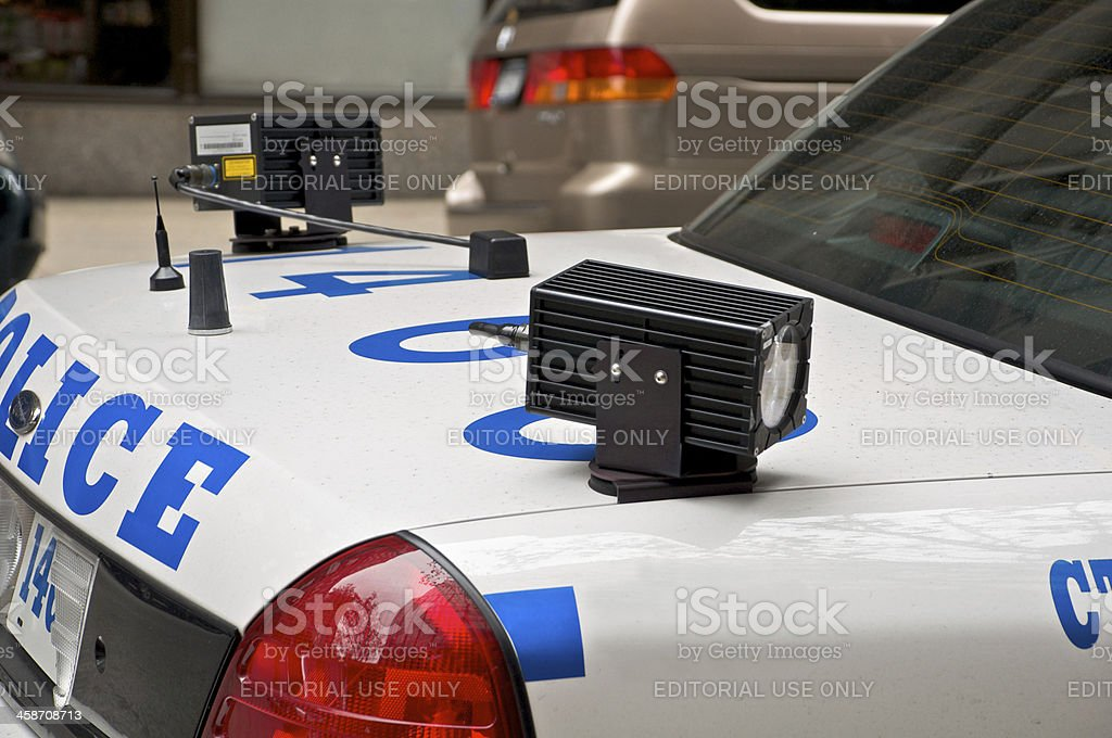 Digital license plate reader devices on NYPD Patrol car stock photo