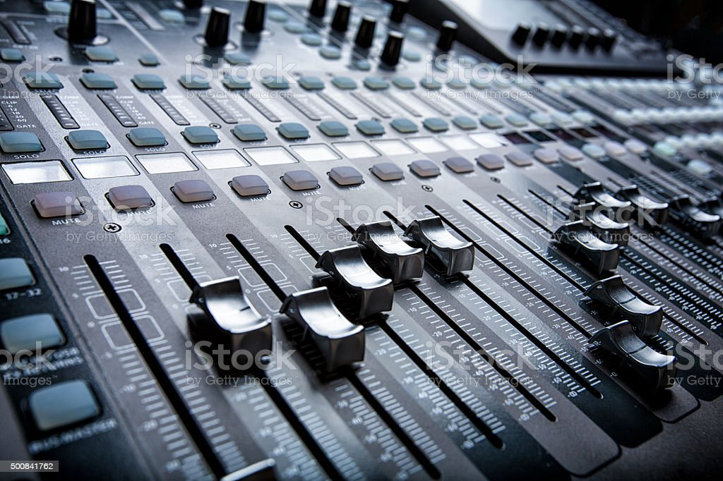 Digital Live Mixing Sound Console stock photo