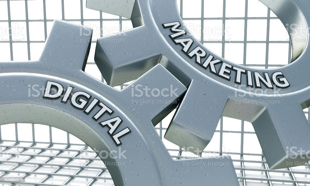 Digital Marketing Concept on the Mechanism of Metal Cogwheels stock photo