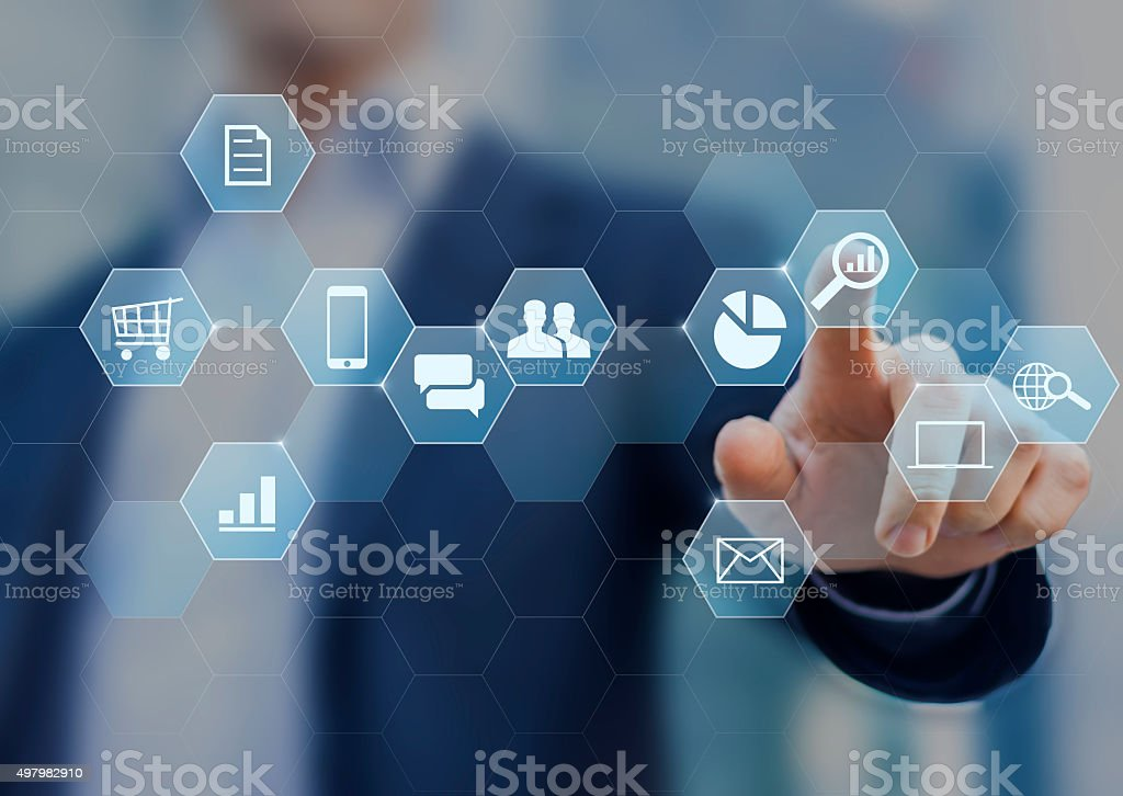 Digital marketing consultant doing business on internet stock photo