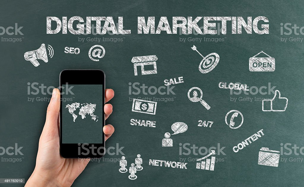 Digital Marketing word and doodles style icon on blackboard stock photo