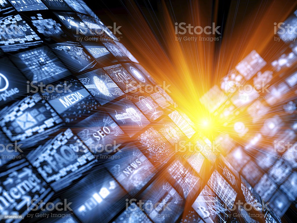 Digital media news concept with a bright light royalty-free stock photo