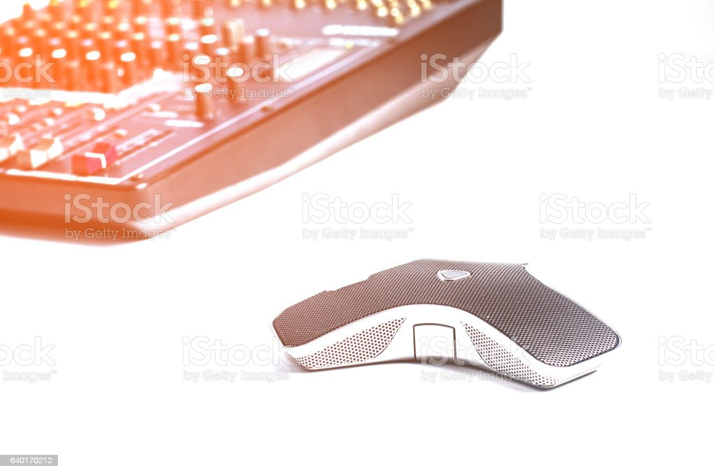 Digital microphone for conferencing on the Internet. stock photo